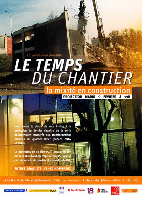 """Projection """"Le temps du chantier. La mixité en construction"""", mardi 9 février 2016"""