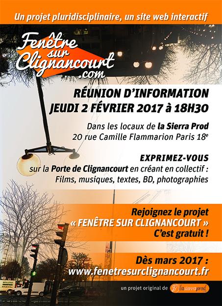 """Réunion d'information sur """"Fenêtre sur Clignancourt"""" le 2 février"""